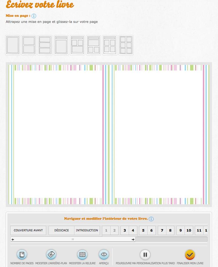 Aperçu de l'interface de création de livre en ligne